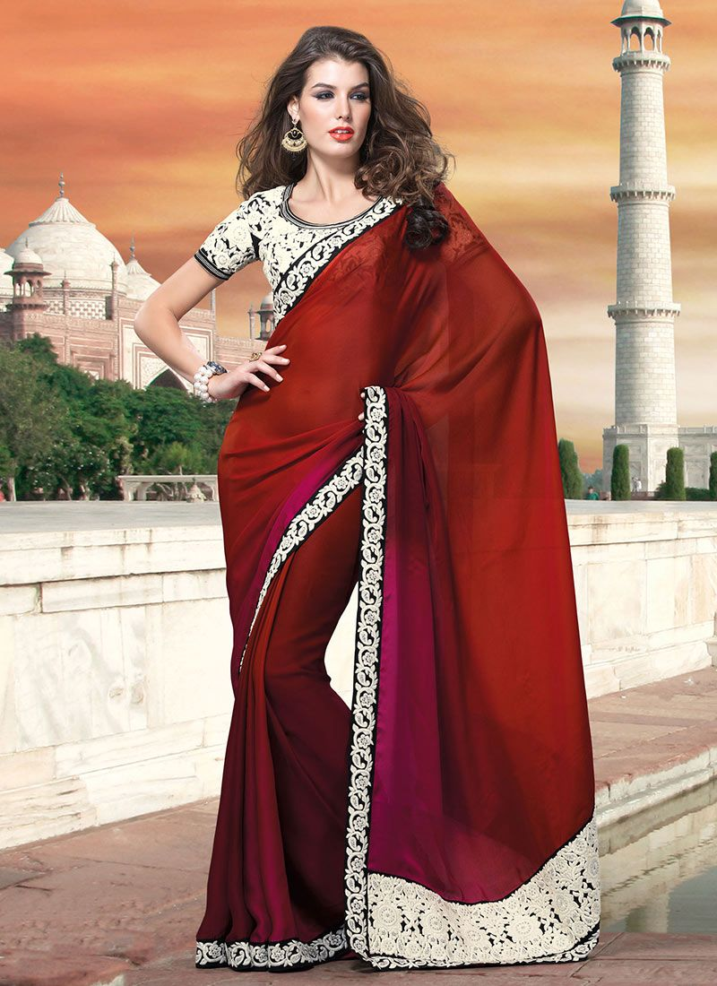Gorgeous Maroon And Magenta Satin Saree
