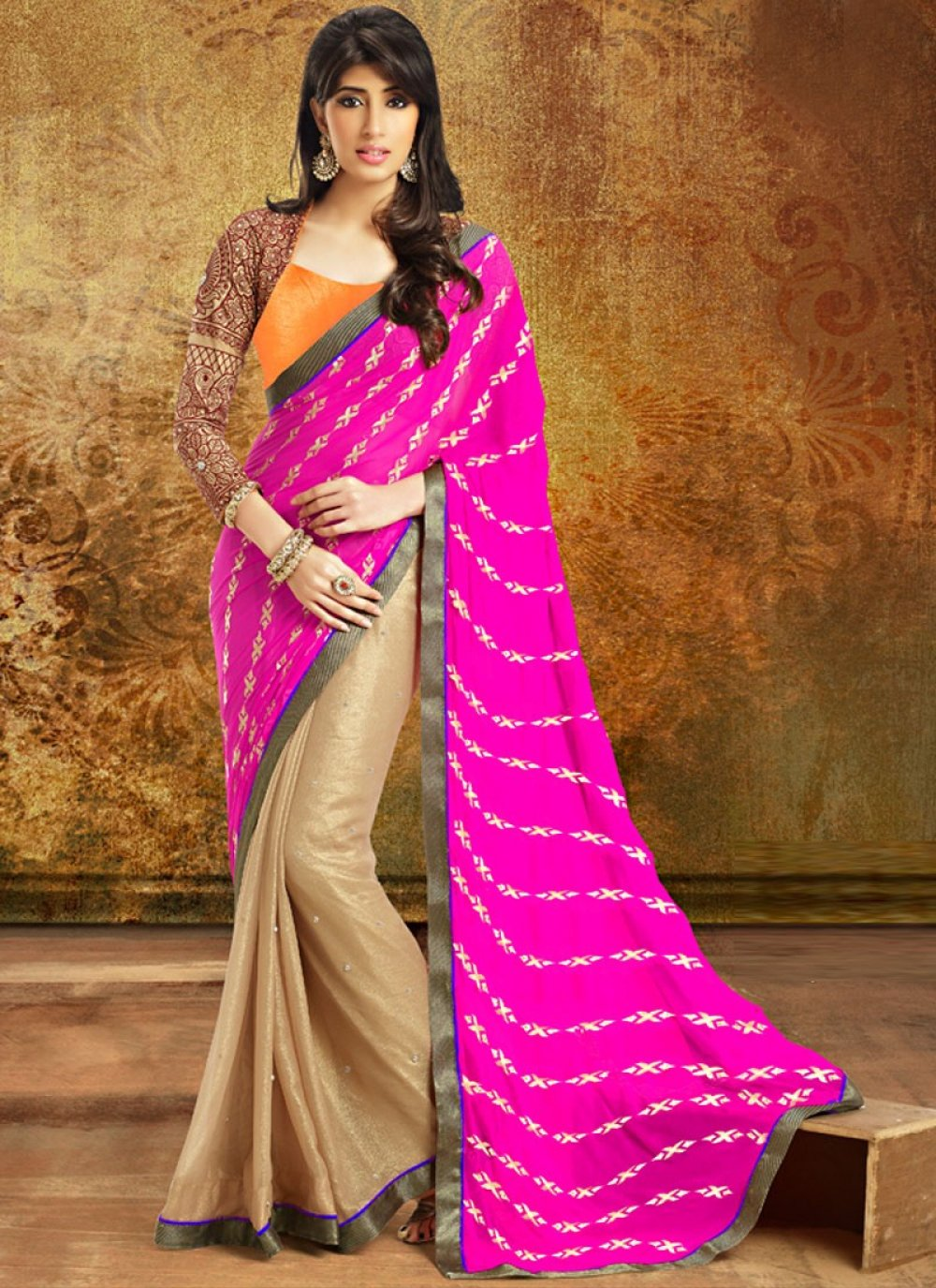 Gorgeous Multicolor Patch Border Printed Saree