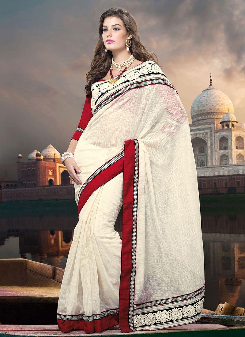 Gorgeous Off White Banarasi Cotton Saree