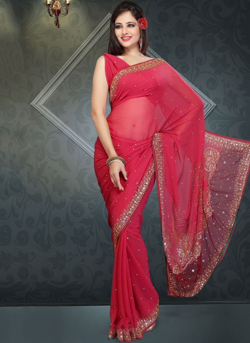 Gorgeous Peach Faux Georgette Saree