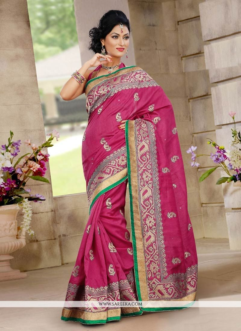 Gorgeous Pink Bhagalpuri Silk Saree