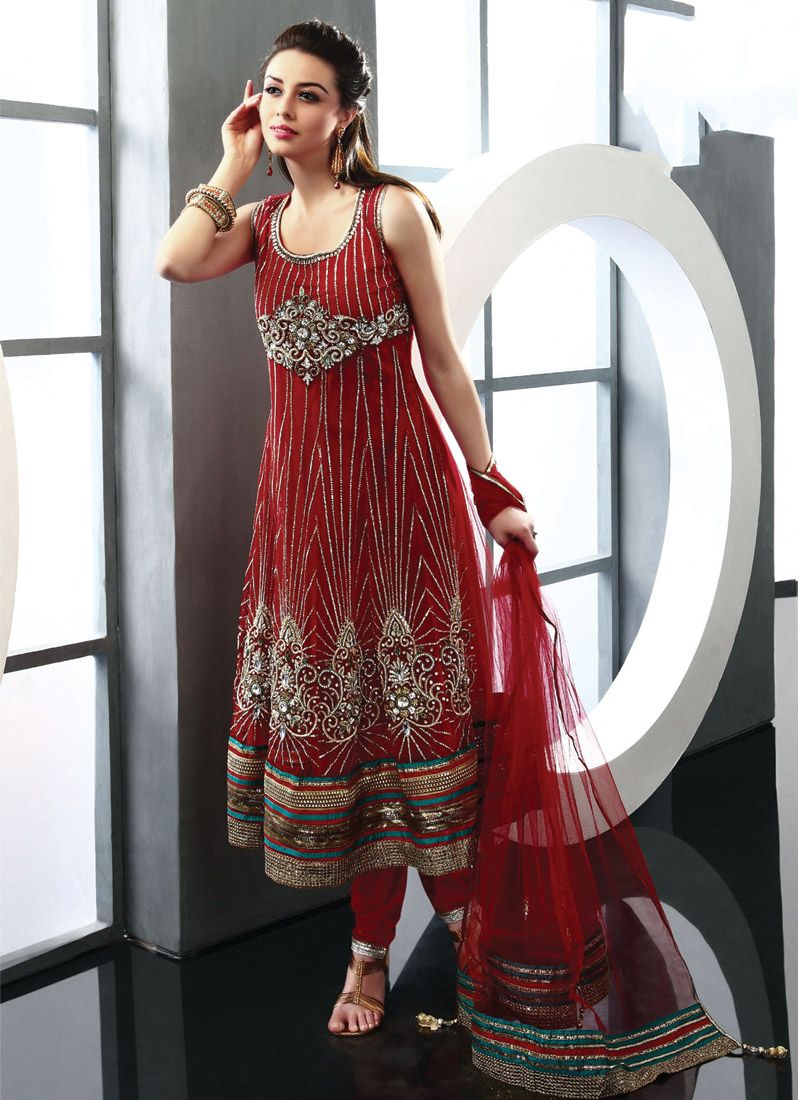 Gorgeous Red Net Churidar Suit