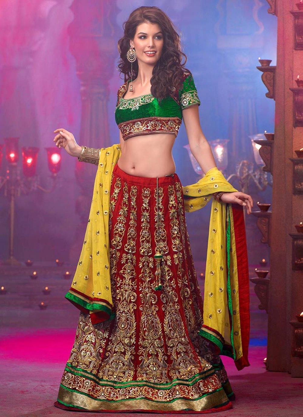 Gorgeous Red Embroidered Lehenga Choli