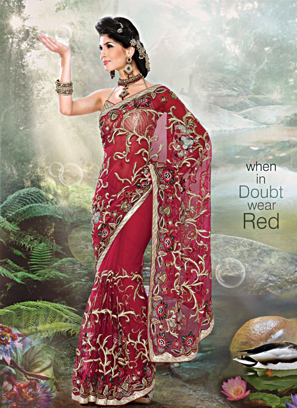 Gorgeous Red Embroidered Saree