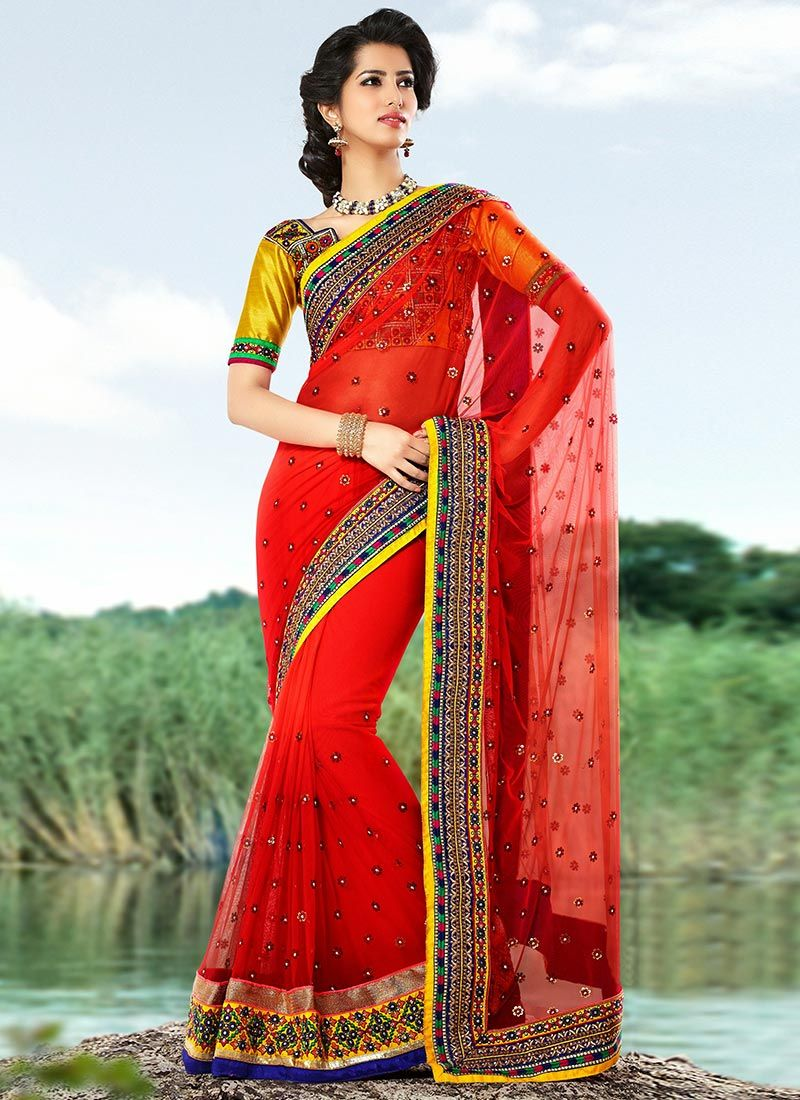 Gorgeous Red Net Casual Saree