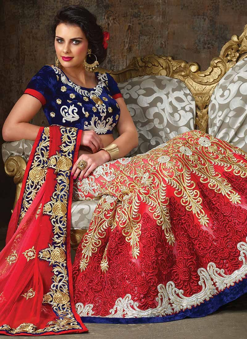 Gorgeous Red Net Resham Lehenga Choli