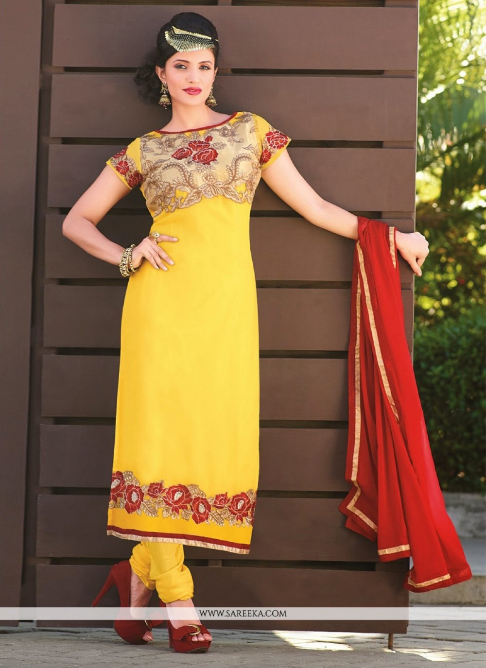 Gorgeous Yellow Georgette Churidar Salwar Suit