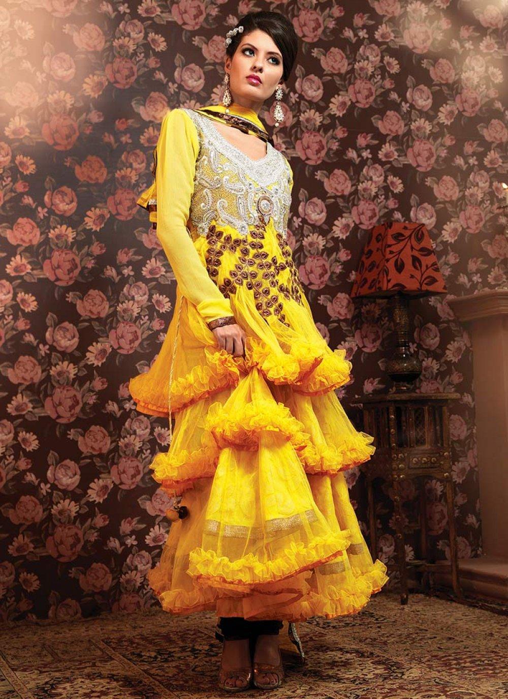 Gorgeous Yellow Net Churidar Suit