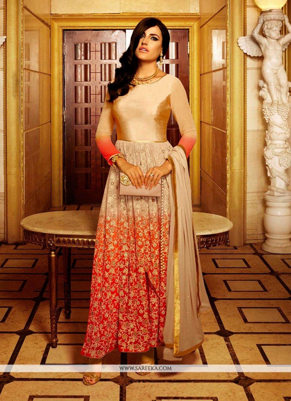 Embroidered Work Georgette Anarkali Salwar Suit