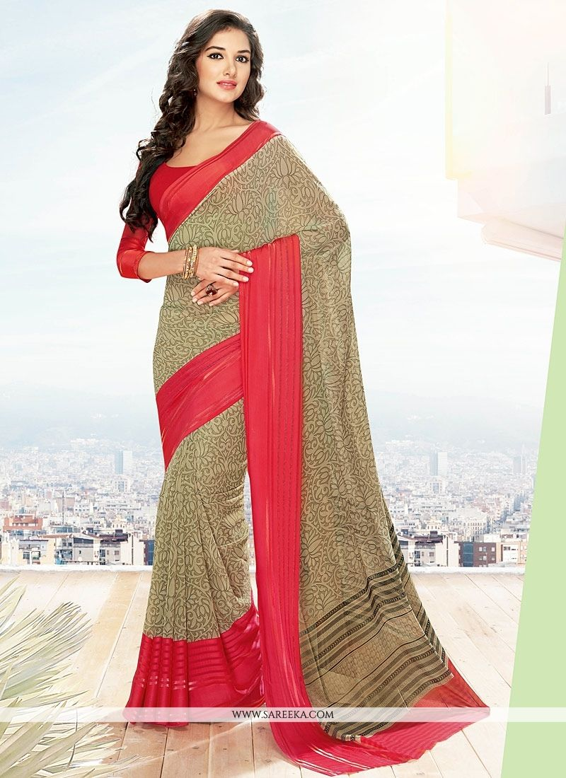 Georgette Beige and Red Lace Work Casual Saree