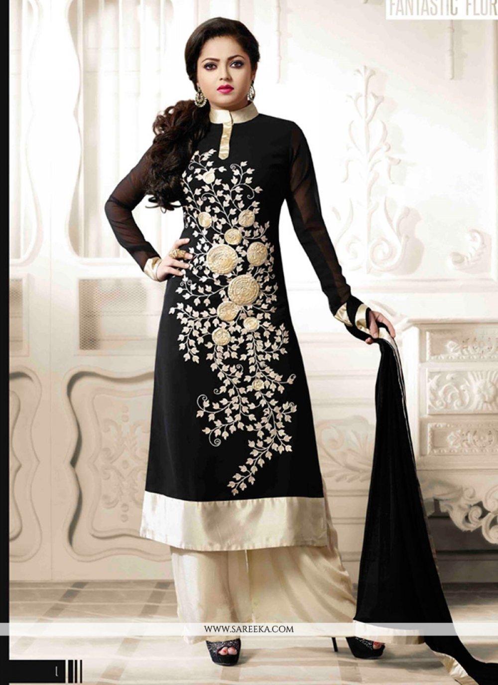 Georgette Black Embroidered Work Designer Palazzo Salwar Kameez