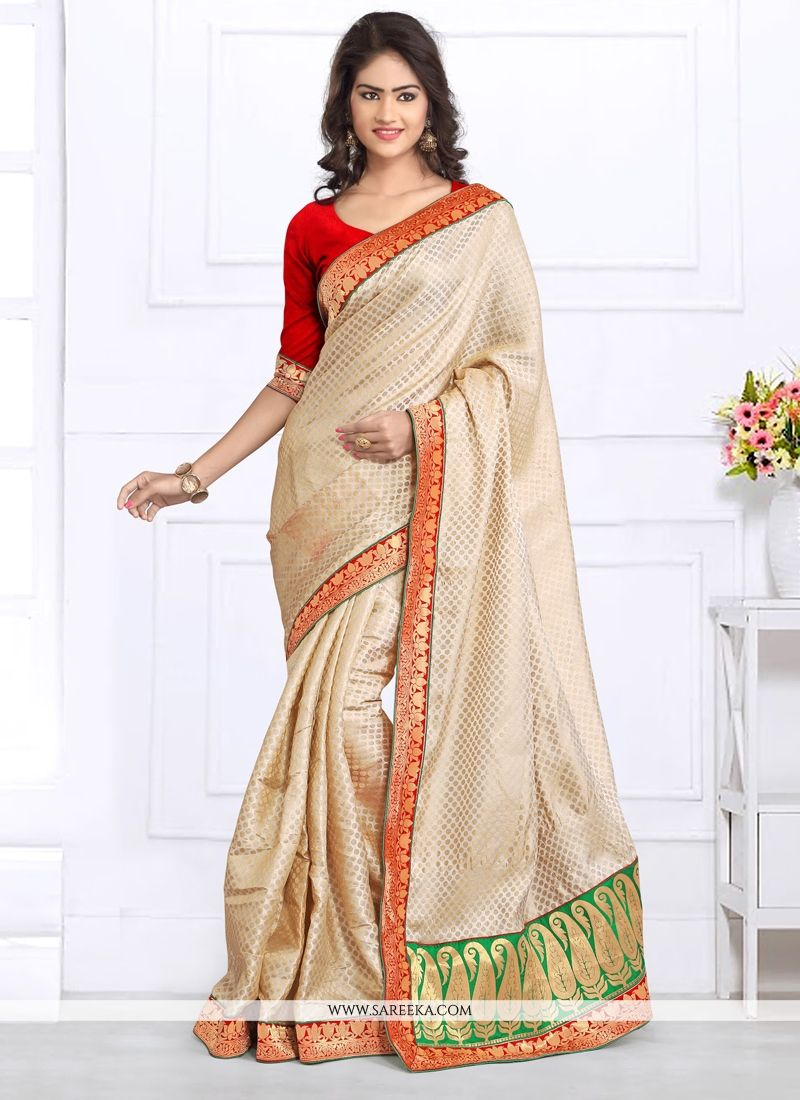 Jacquard Cream Designer Saree