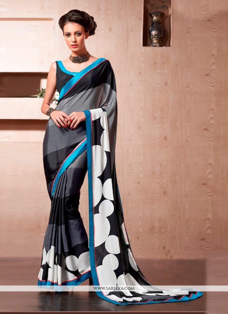 Print Work Black and Grey Casual Saree