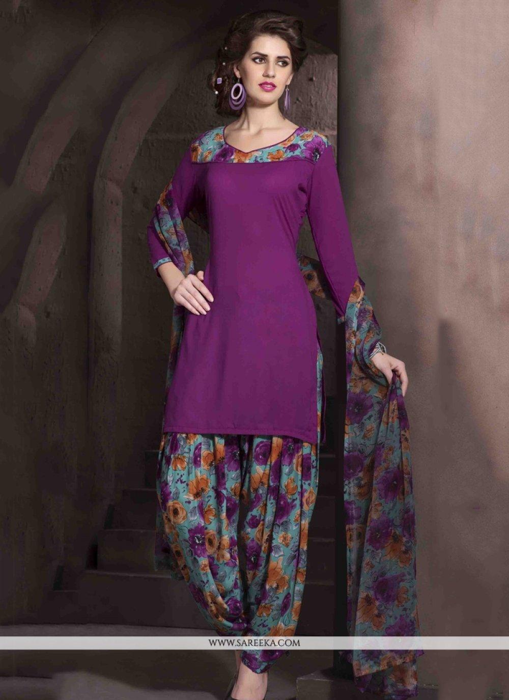 Purple Designer Patiala Salwar Kameez