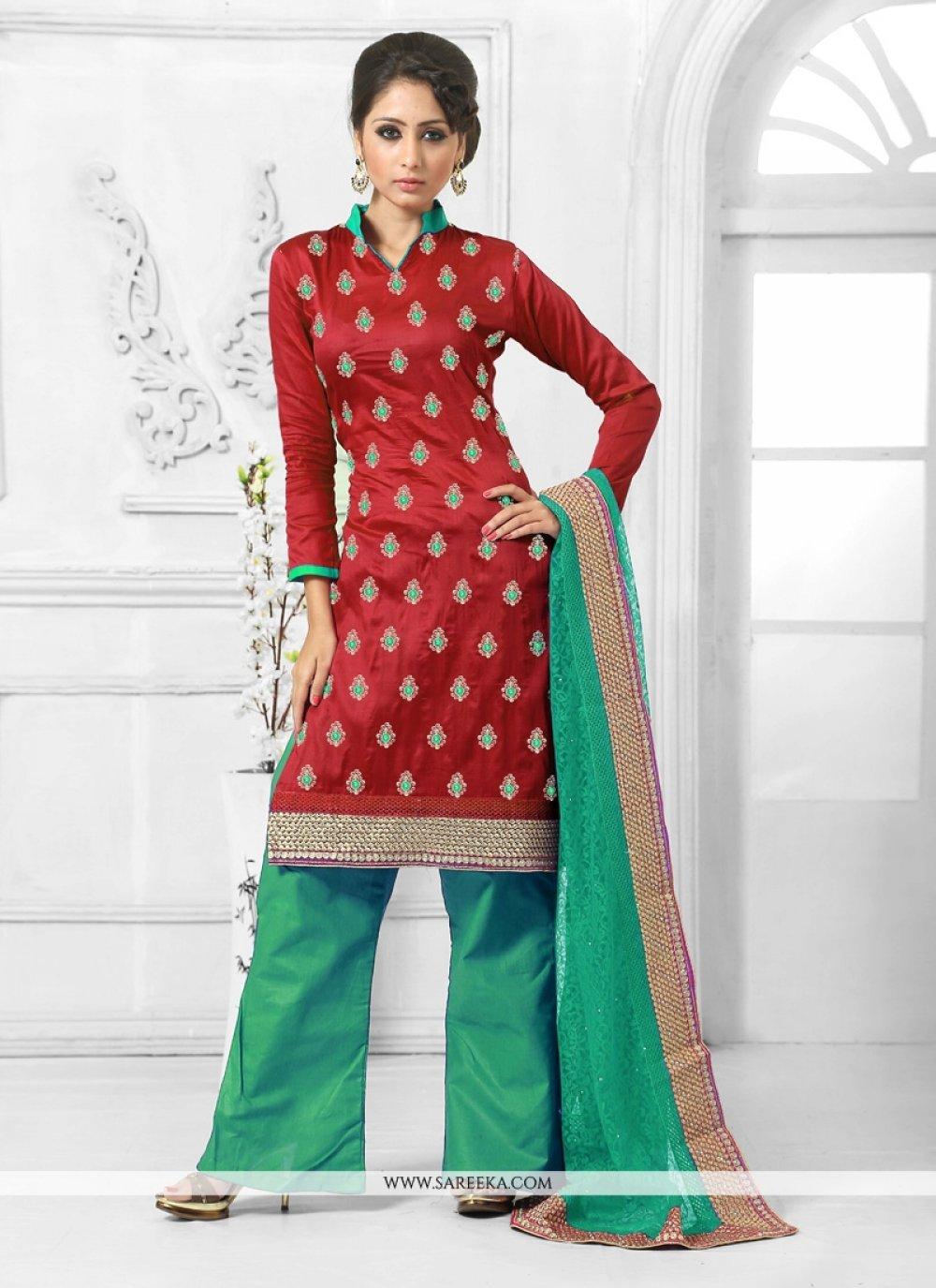 Red Designer Palazzo Salwar Kameez
