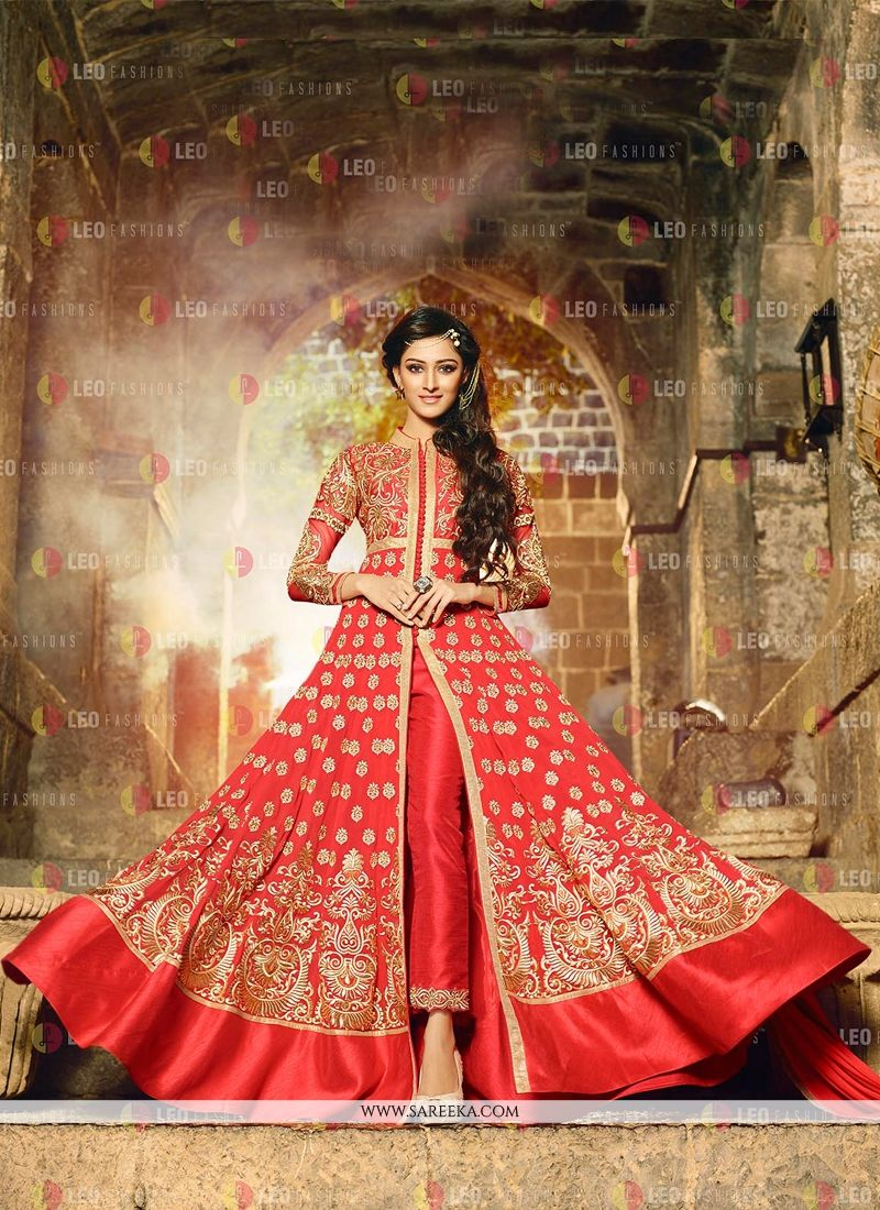 Red Georgette Anarkali Salwar Kameez