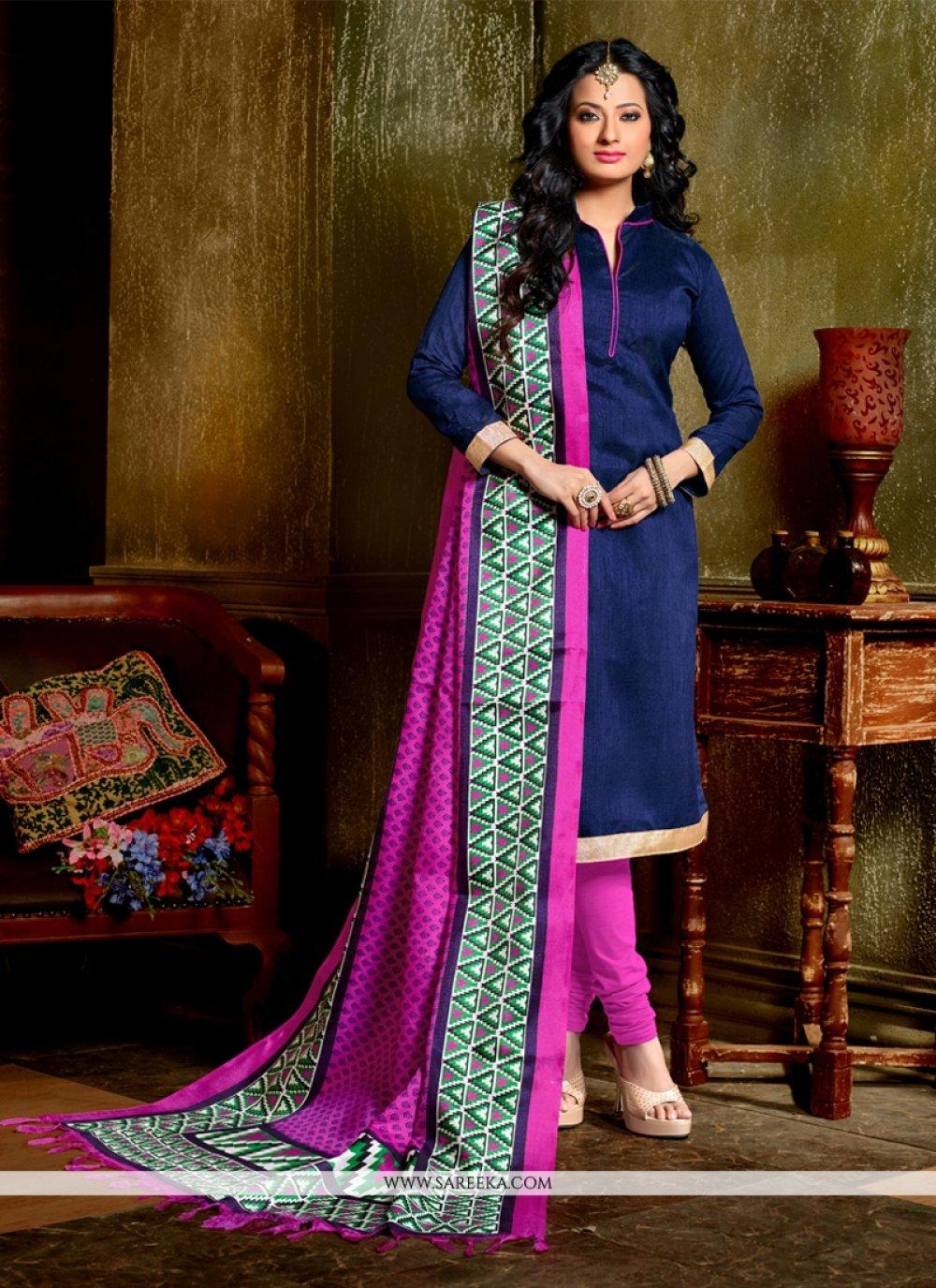 Banglori Silk Blue Churidar Designer Suit