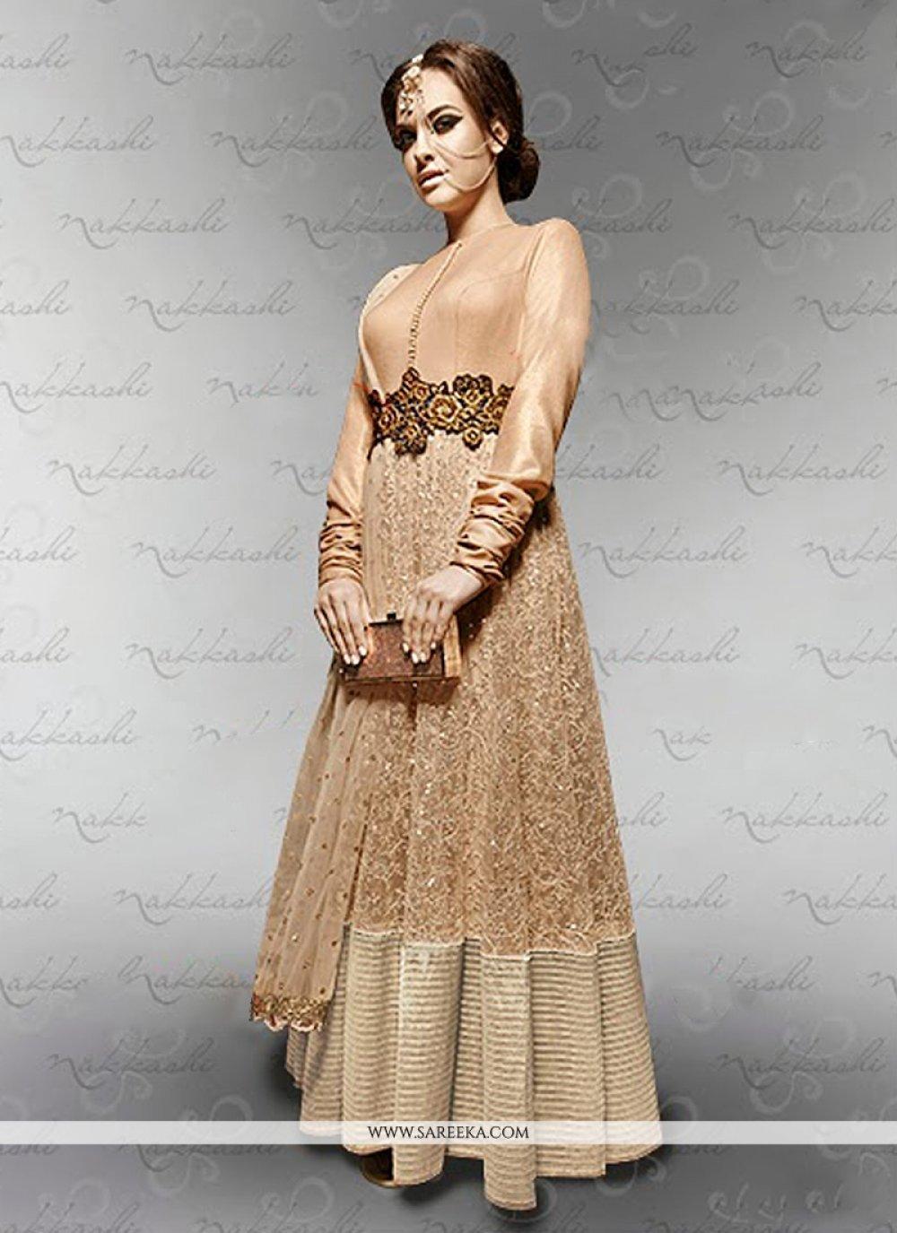 Beige Net Sequins Work Anarkali Suit