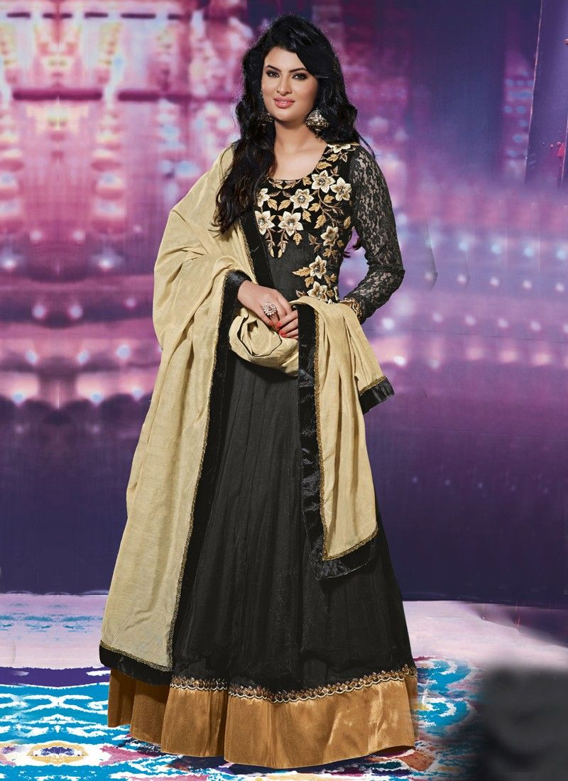Black Patch Border Work Anarkali Suit