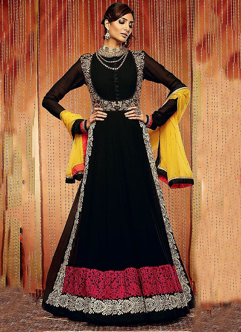 Black Resham Work Georgette Anarkali Suit