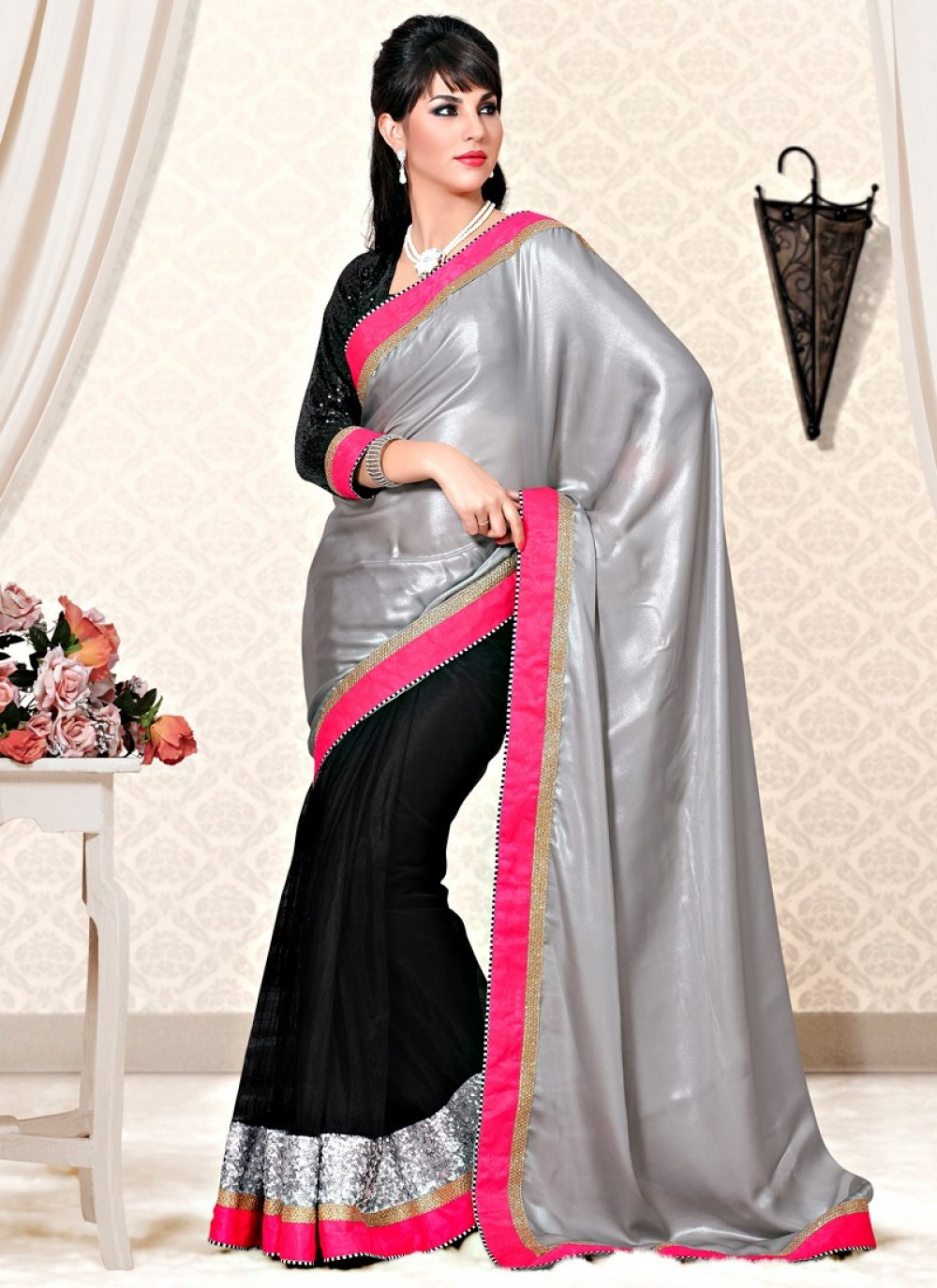 Blak And Grey Color Jaquard Fabric Half And Half Saree