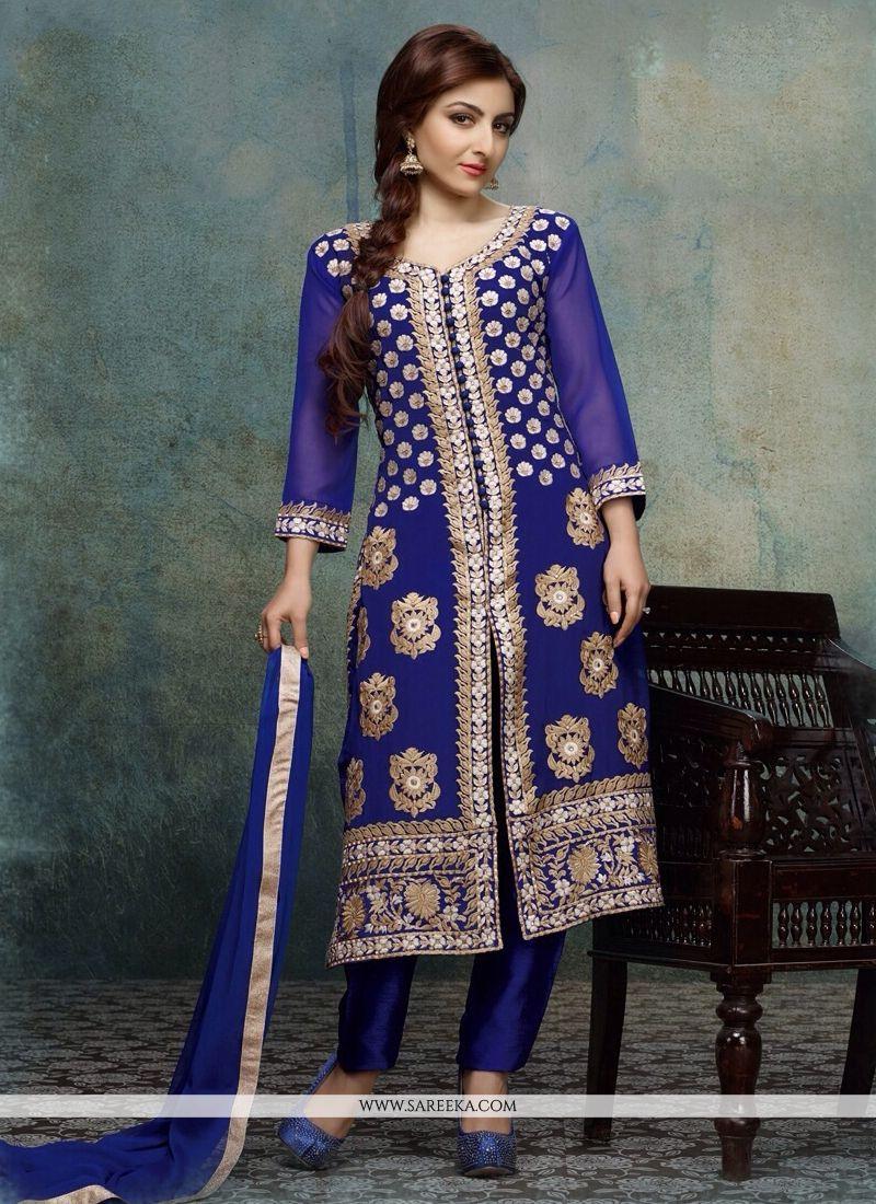 Soha Ali Khan Blue Cotton Pant Style Suit