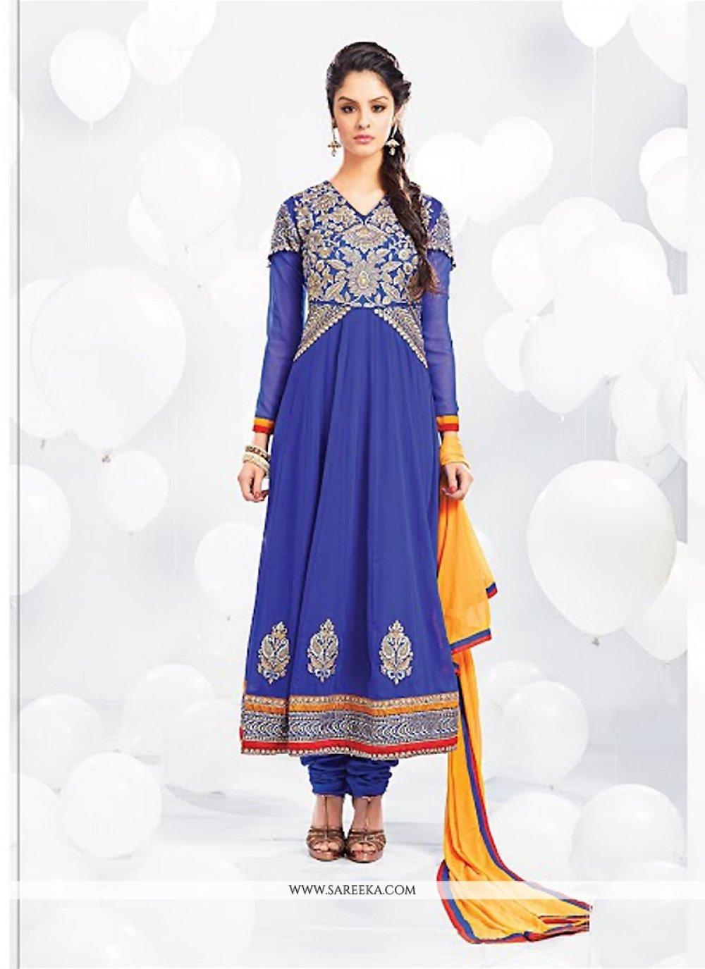 Blue Georgette Anarkali Salwar Suit