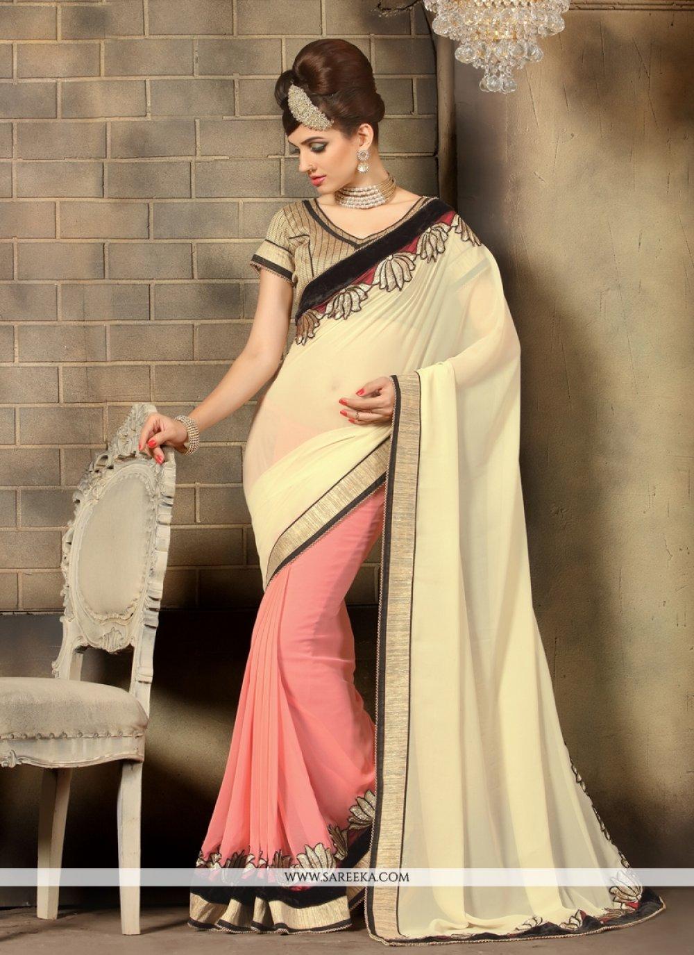 Cream Lace Work Georgette Designer Saree