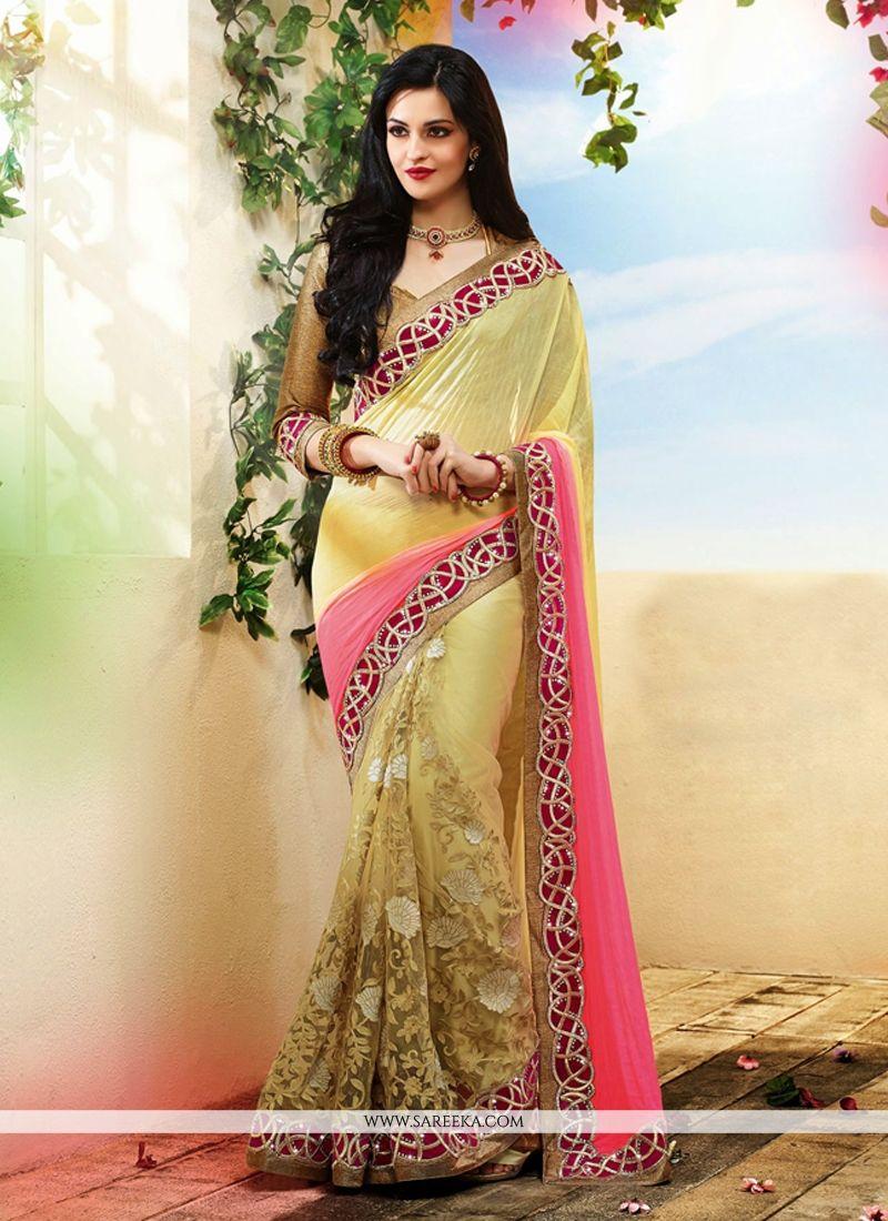 Cream Net And Georgette Designer Saree