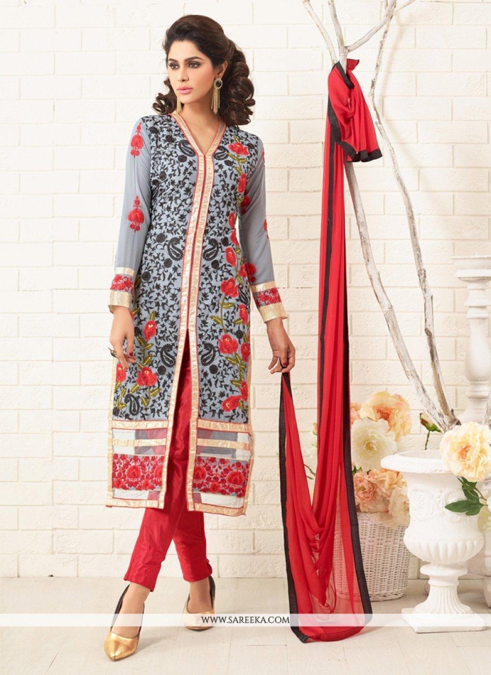 Georgette Grey Designer Straight Salwar Kameez