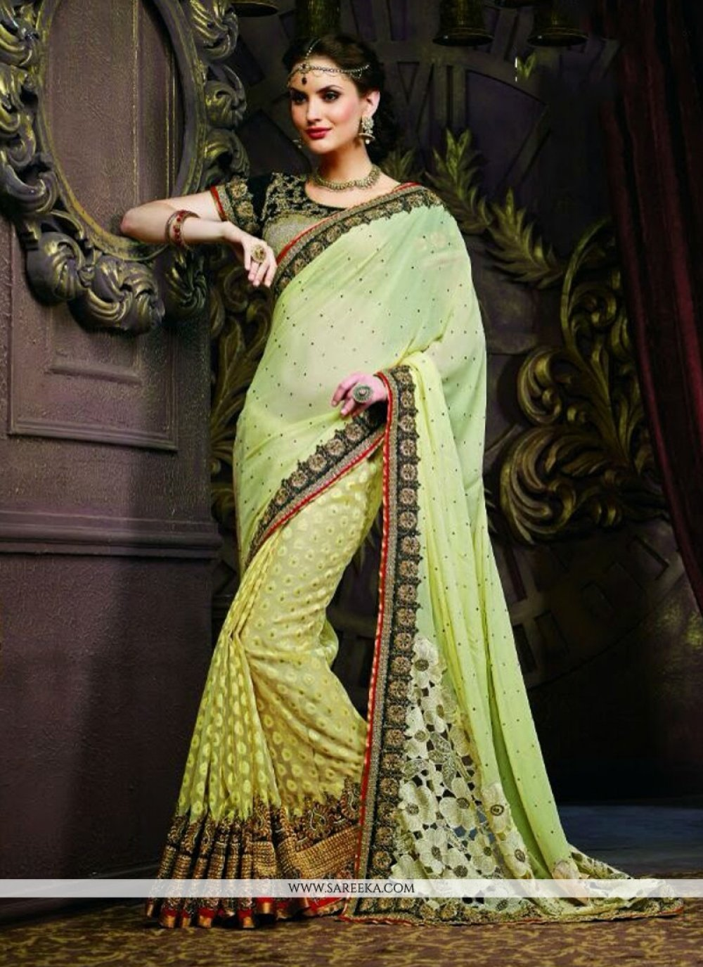 Green Georgette And Banarasi Saree