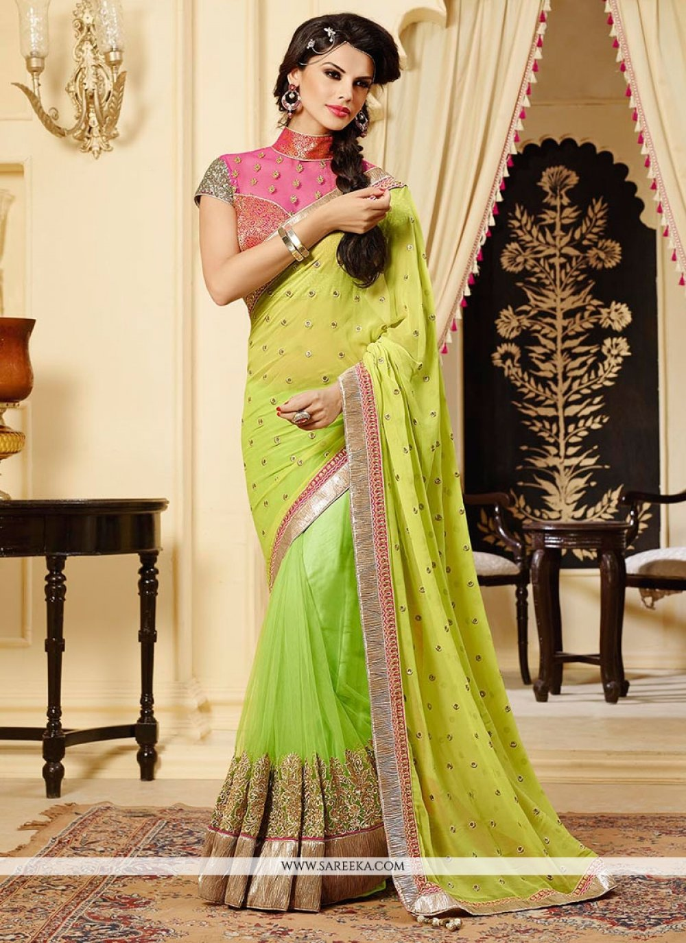 Green Georgette And Net Designer Saree