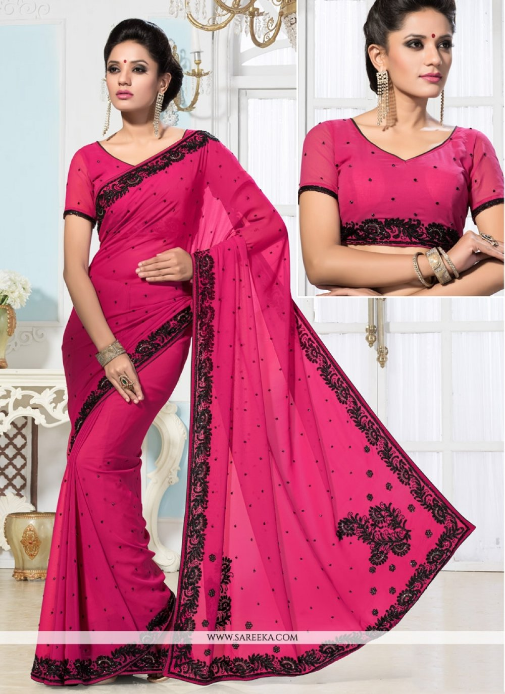 Hot Pink Embroidered Work Saree