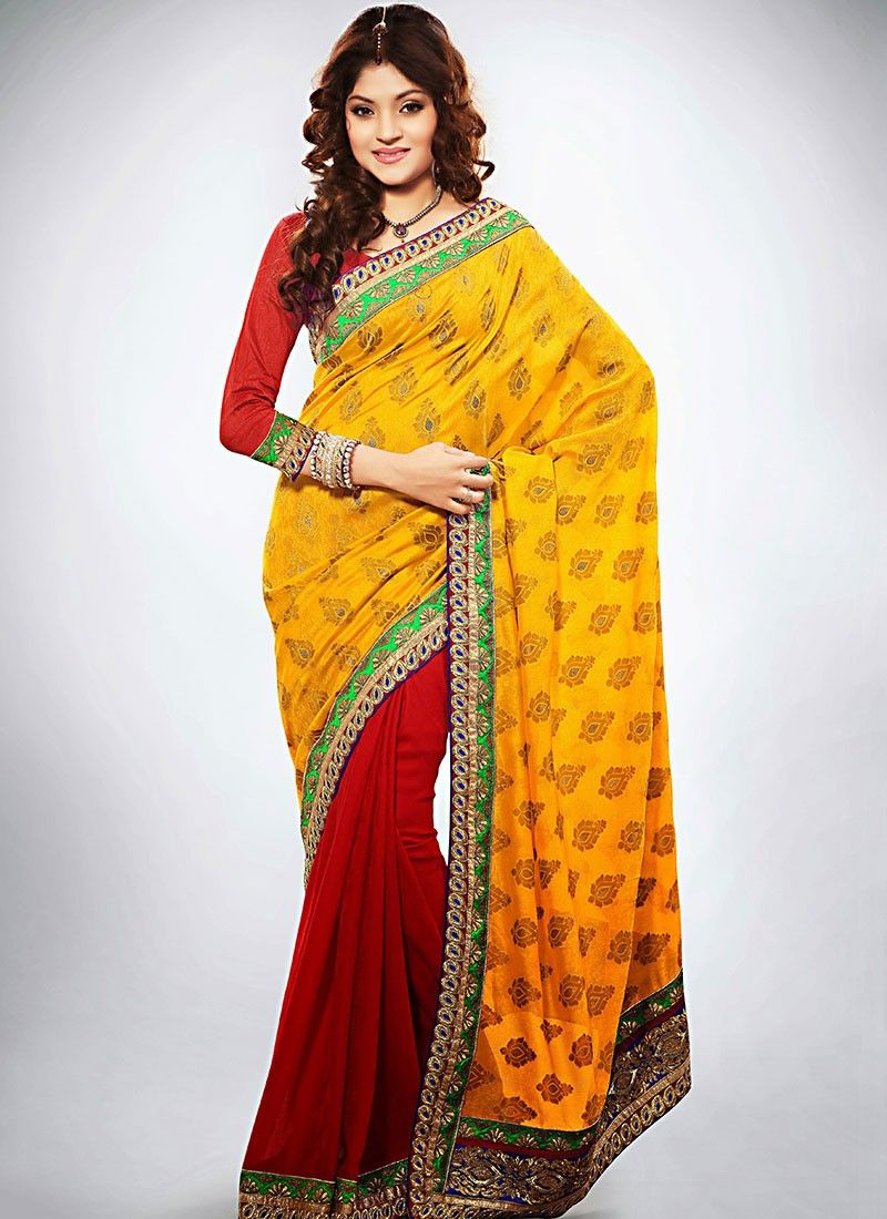 Mustard Jacquard Half And Half Saree