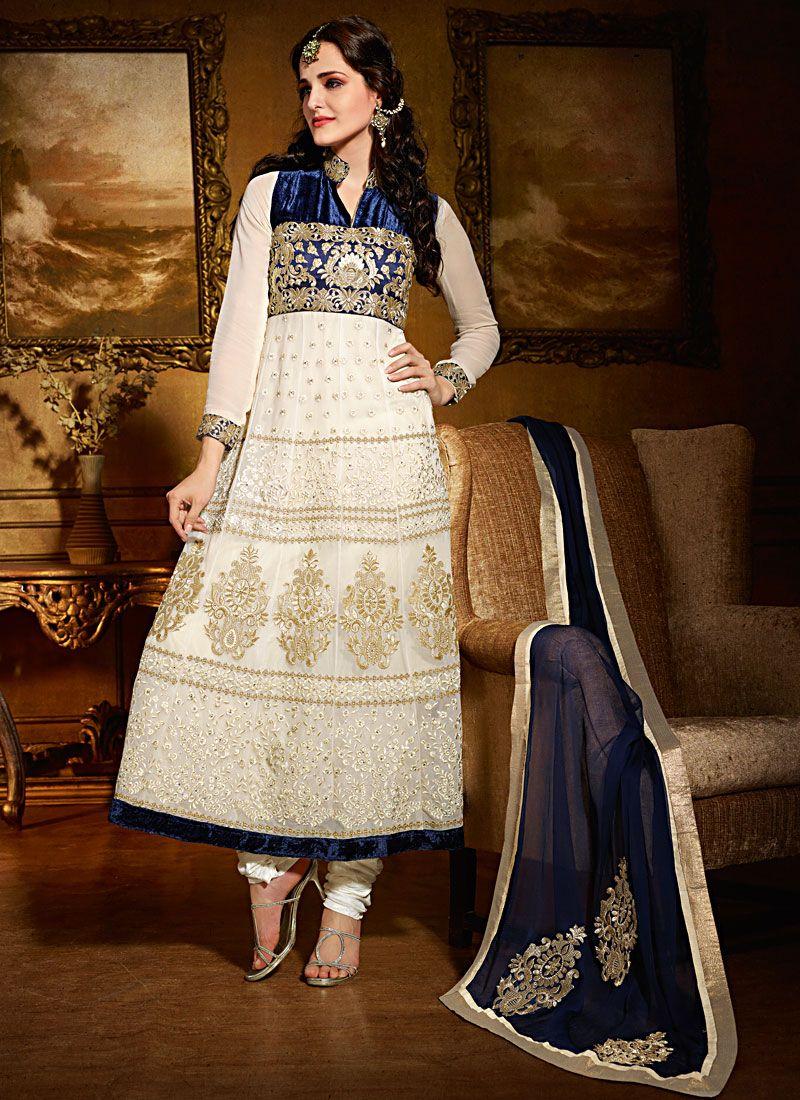 Off White Velvet And Net Anarkali Suit
