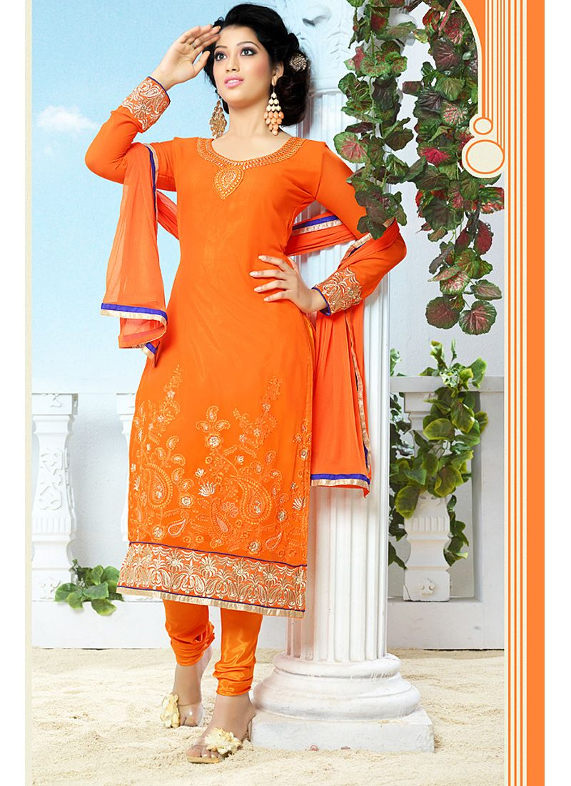 Orange Faux Georgette Churidar Suit
