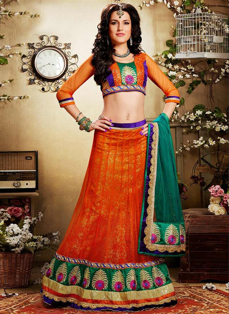 Orange Floral Jacquard Net Lehenga Choli