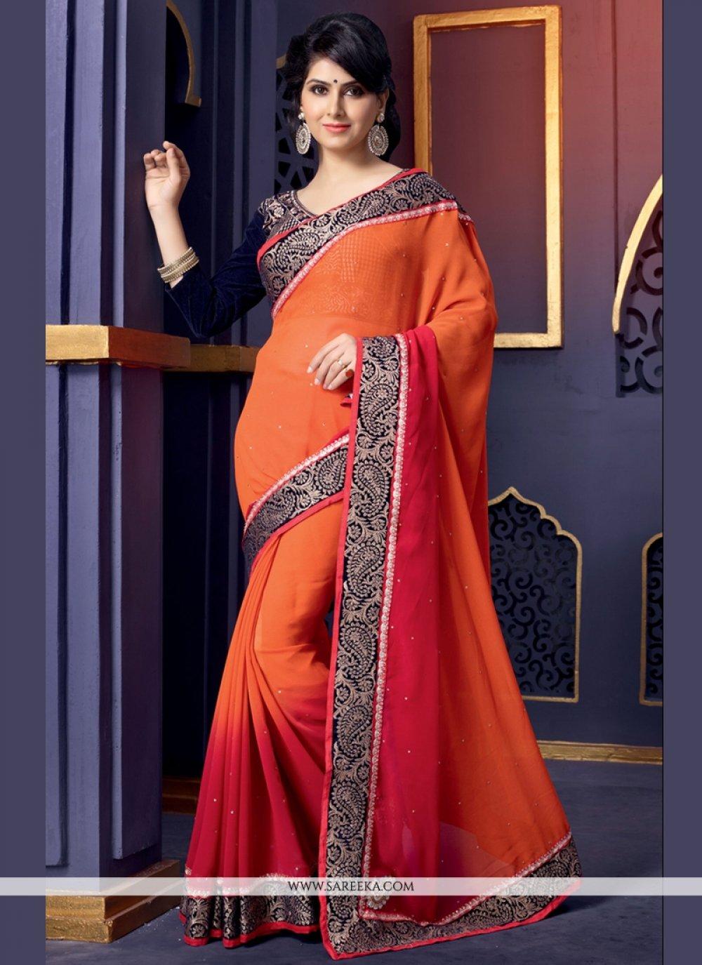 Orange Pure Georgette Designer Saree