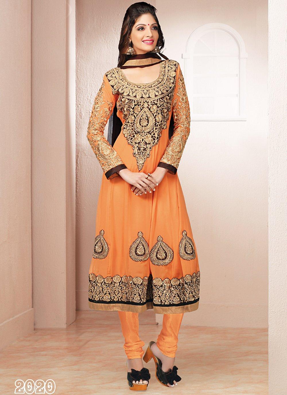 Orange Resham Work Georgette Anarkali Suit