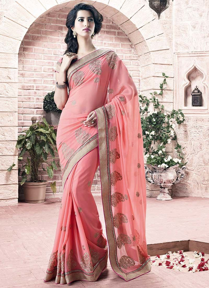 Peach Zari Work Georgette Saree