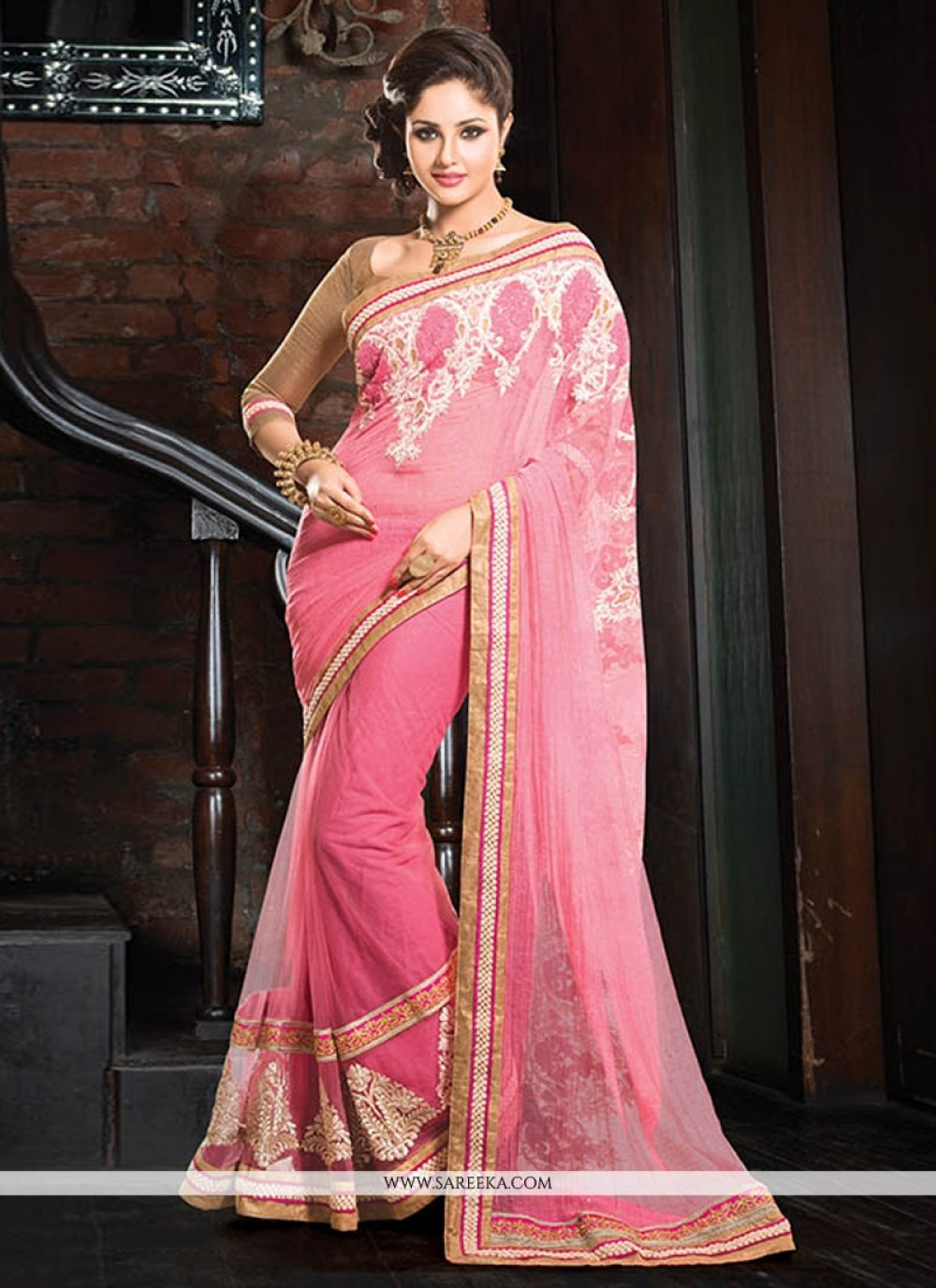 Pink Embroidery Net Saree