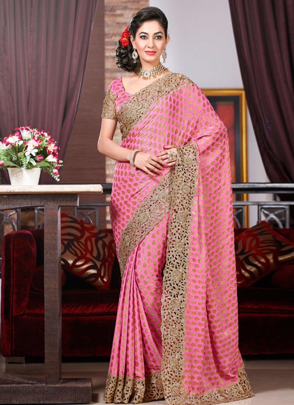 Pink Zari And Resham Work Designer Saree