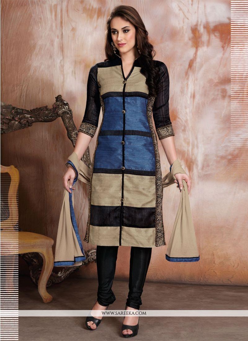 Raw Silk Churidar Designer Suit