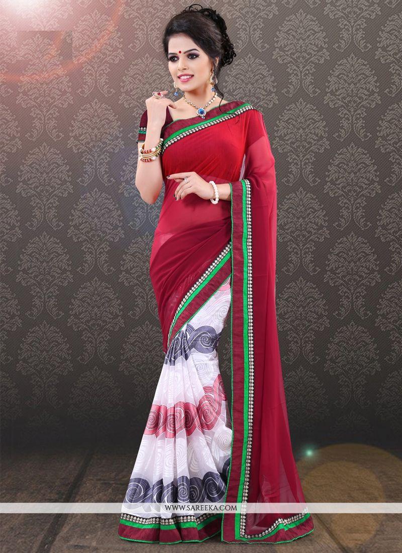 Red and White Lace Work Casual Saree