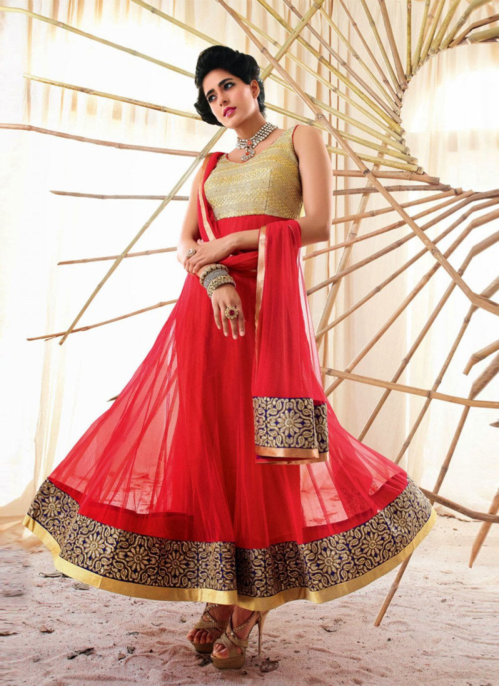 Red Embroidery Work Holiday Movie Anarkali Suit