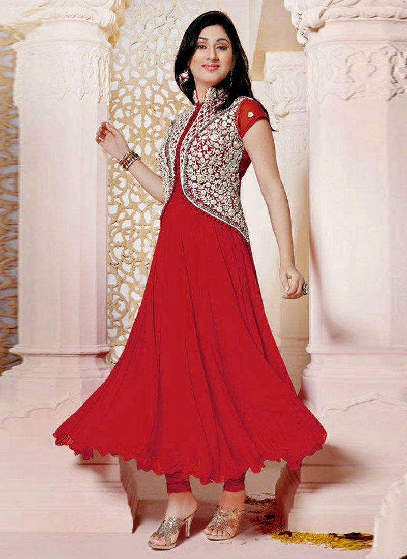 Red Faux Georgette Anarkali Salwar Suit
