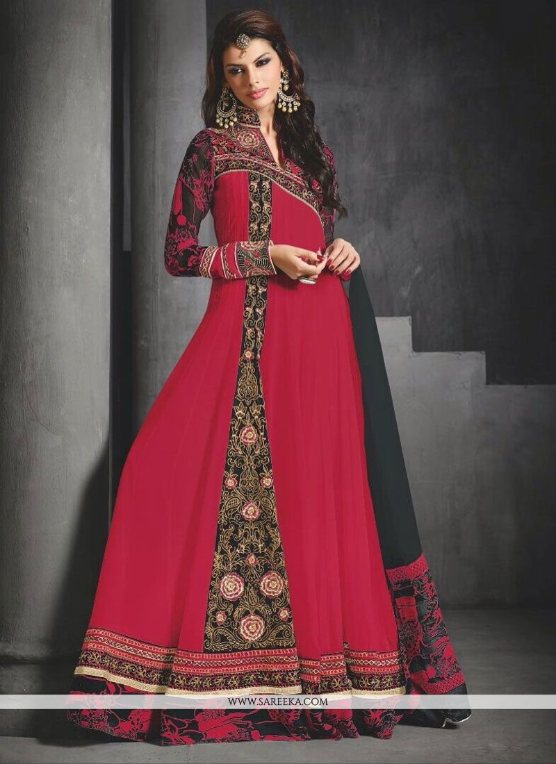 Red Georgette Floor Lenght Anarkali Suit