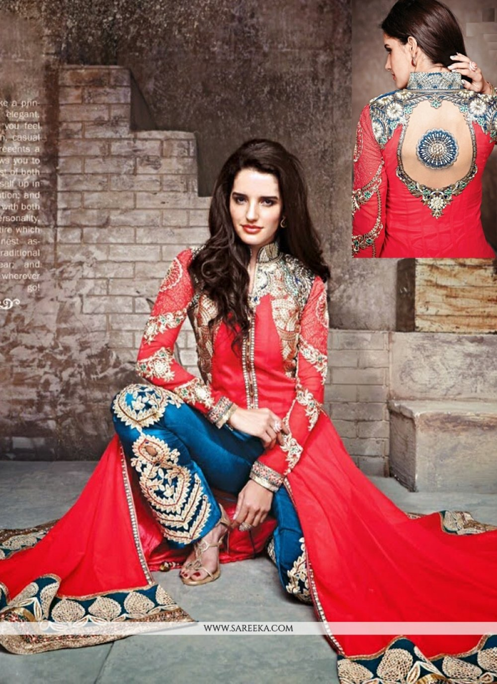 Red Georgette Pant Style Suit