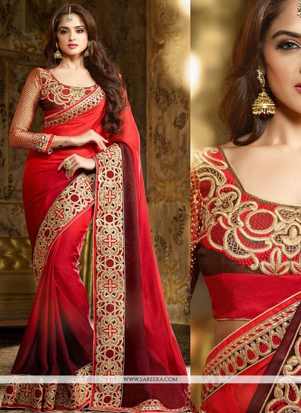 Red Georgette Wedding Saree