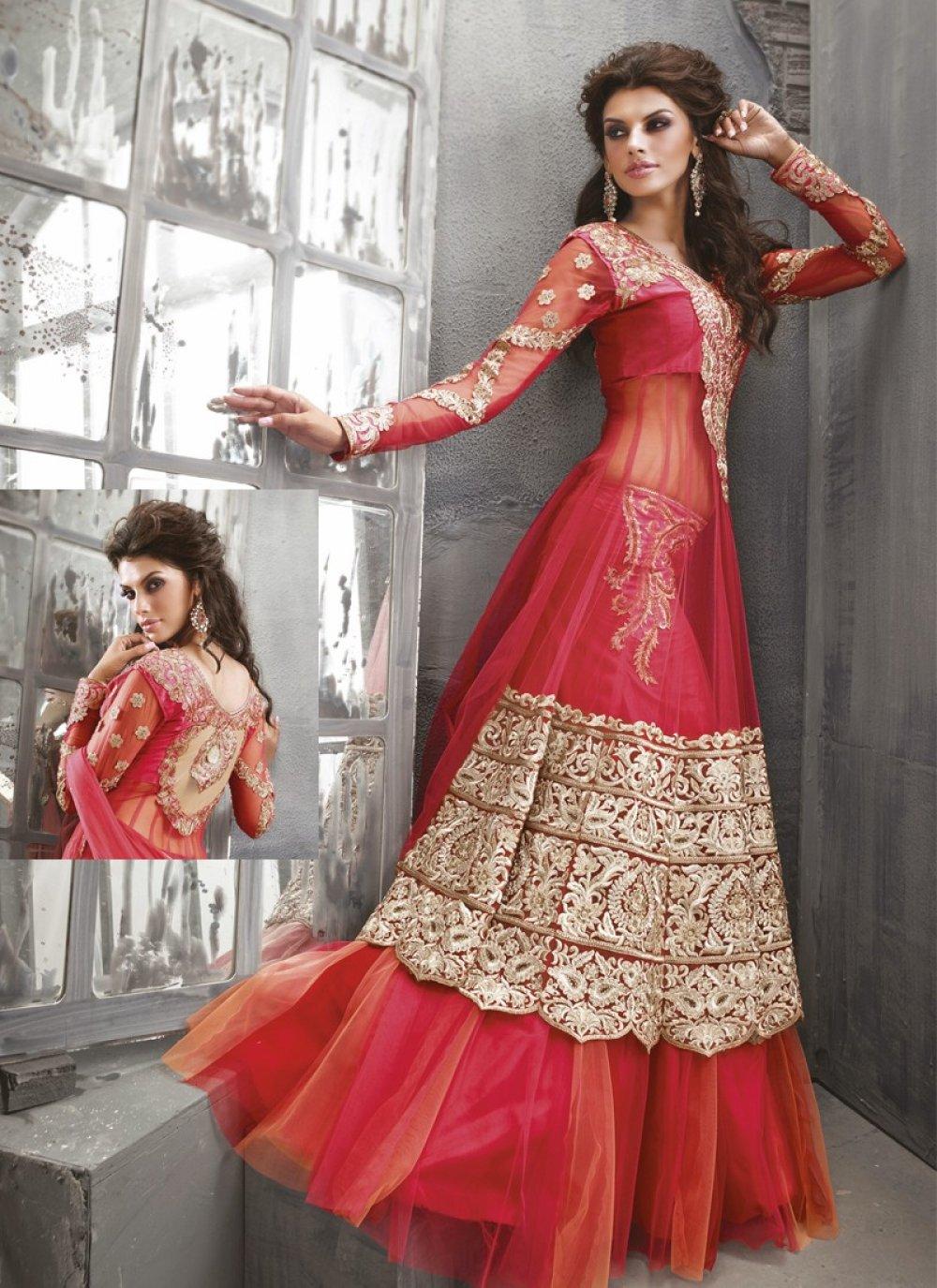 Red Stone Work Net Anrakali Suit